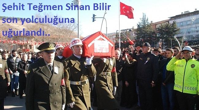 Tel Abyadşehidi teğmen Sinan Bilir,Tokat'ta son yolculuğa uğurlandı.