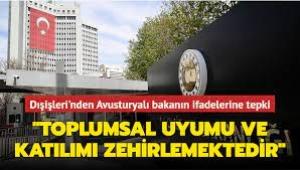 Dışişleri Bakanlığı Sözcüsü ve BüyükelçiTanju Bilgiç'ten Müslümanları fişleyenAvusturya'ya tepki