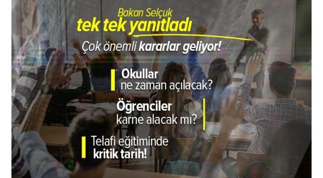 Son dakika  Milli EğitimBakanıZiya Selçuk'tan flaş karne, yüz yüze eğitim ve telafi eğitimi açıklaması