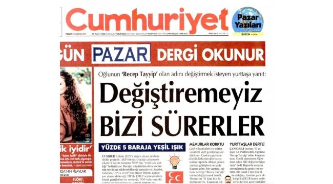 CHP'nin raporunu haber yapanCumhuriyetve Sözcü yine patladı! 'Oğluna koyduğu Recep Tayyip adını değiştiremiyor' haberlerine yalanlama