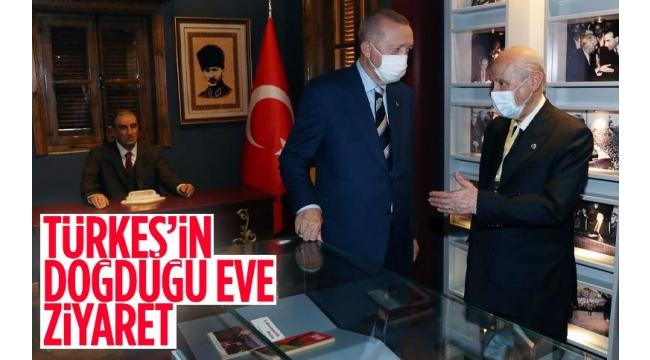 Başkan Erdoğan ve Bahçeli, Alparslan Türkeş'in doğduğu evi ziyaret etti