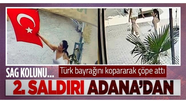 İkincisaldırı! Bir kadın iş yerine asılıTürk bayrağını kopararak çöpe attı